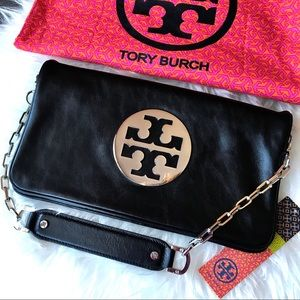 Tory Burch Large Black Leather Reva Clutch